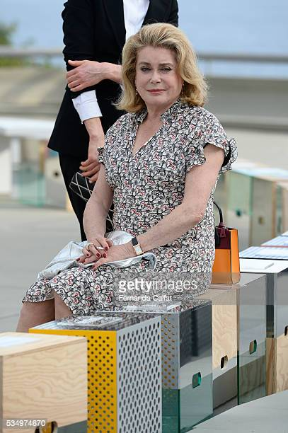 Catherine Deneuve attends at Louis Vuitton 2017 Cruise Collection at MAC on May 28 2016 in Niteroi Brazil