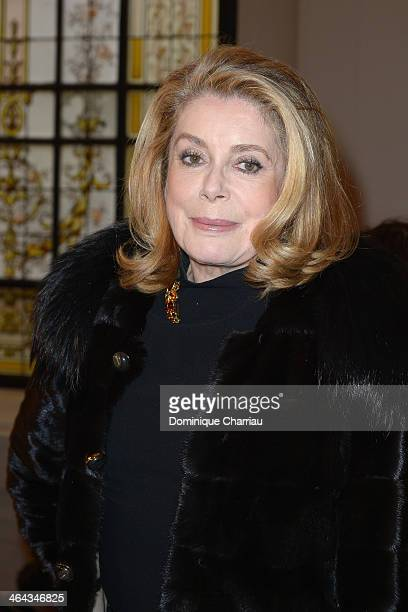 Catherine Deneuve attends the Jean Paul Gaultier show as part of Paris Fashion Week Haute Couture Spring/Summer 2014 on January 22 2014 in Paris...