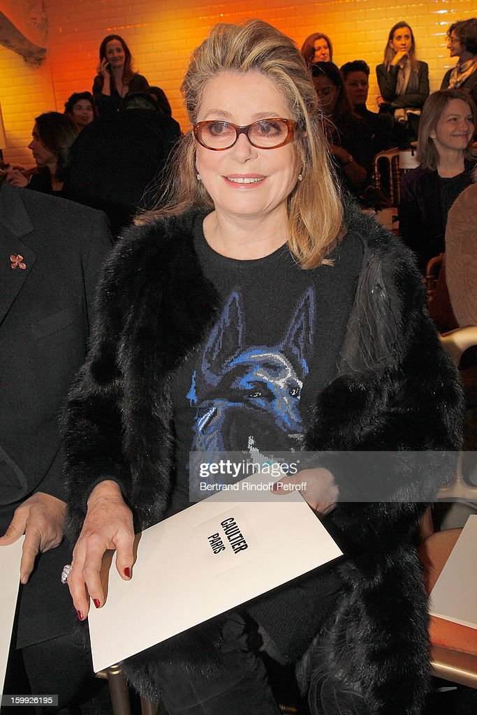 <a gi-track='captionPersonalityLinkClicked' href=/galleries/search?phrase=Catherine+Deneuve&family=editorial&specificpeople=123833 ng-click='$event.stopPropagation()'>Catherine Deneuve</a> attends the Jean-Paul Gaultier Spring/Summer 2013 Haute-Couture show as part of Paris Fashion Week at on January 23, 2013 in Paris, France.