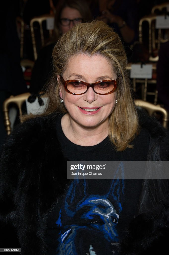 Catherine Deneuve attends the Jean-Paul Gaultier Spring/Summer 2013 Haute-Couture show as part of Paris Fashion Week at on January 23, 2013 in Paris, France.