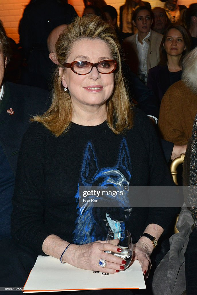 Catherine Deneuve attends the Jean-Paul Gaultier Spring/Summer 2013 Haute-Couture show as part of Paris Fashion Week at Studio Jean Paul Gaultier on January 23, 2013 in Paris, France.