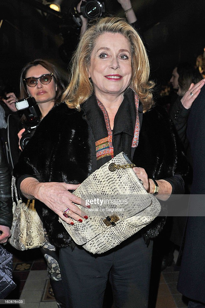 Catherine Deneuve attends the Lanvin Fall/Winter 2013 Ready-to-Wear show as part of Paris Fashion Week on February 28, 2013 in Paris, France.