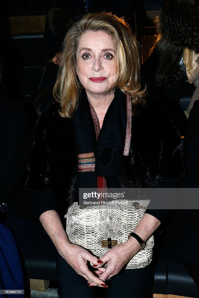 <a gi-track='captionPersonalityLinkClicked' href=/galleries/search?phrase=Catherine+Deneuve&family=editorial&specificpeople=123833 ng-click='$event.stopPropagation()'>Catherine Deneuve</a> attends the Lanvin Fall/Winter 2013 Ready-to-Wear show as part of Paris Fashion Week on February 28, 2013 in Paris, France.