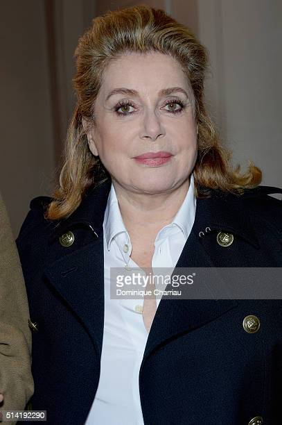 Catherine Deneuve attends the Saint Laurent show as part of the Paris Fashion Week Womenswear Fall/Winter 2016/2017 on March 7 2016 in Paris France