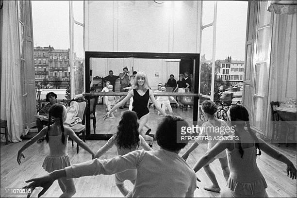 Catherine Deneuve dancing in shooting film ' Les Demoiselles de Rochefort' in Rochefort France on June 09 1966