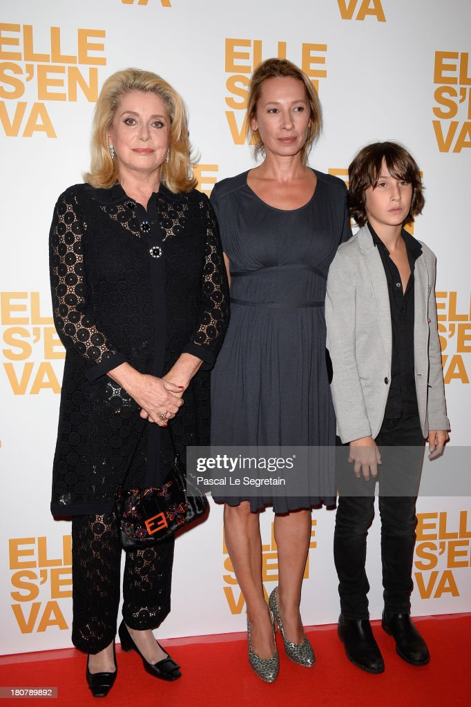 <a gi-track='captionPersonalityLinkClicked' href=/galleries/search?phrase=Catherine+Deneuve&family=editorial&specificpeople=123833 ng-click='$event.stopPropagation()'>Catherine Deneuve</a>, <a gi-track='captionPersonalityLinkClicked' href=/galleries/search?phrase=Emmanuelle+Bercot&family=editorial&specificpeople=2147740 ng-click='$event.stopPropagation()'>Emmanuelle Bercot</a> and Nemo Schiffman attend 'Elle S'en Va' Paris Premiere at Cinema l'Arlequin on September 16, 2013 in Paris, France.