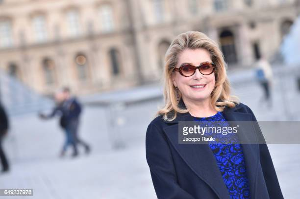 Catherine Deneuve is seen arriving at Louis Vuitton fashion show during the Paris Fashion Week Womenswear Fall/Winter 2017/2018 on March 7 2017 in...