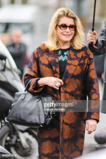 Catherine Deneuve is seen outside the Dries Van Noten show during Paris Fashion Week Womenswear Fall/Winter 2017/2018 on March 1 2017 in Paris France