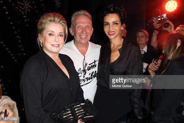 Catherine Deneuve Jean Paul Gaultier and Farida Khelfa attend Jean Paul Gaultier show as part of the Paris Fashion Week Womenswear Spring/Summer 2014...