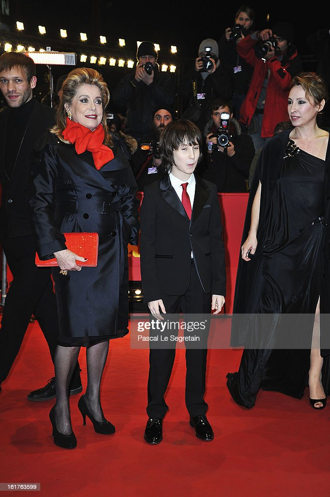 <a gi-track='captionPersonalityLinkClicked' href=/galleries/search?phrase=Catherine+Deneuve&family=editorial&specificpeople=123833 ng-click='$event.stopPropagation()'>Catherine Deneuve</a>, Nemo Schiffman and director Emmanuelle Bercot attend the 'On My Way' Premiere during the 63rd Berlinale International Film Festival at Berlinale Palast on February 15, 2013 in Berlin, Germany.
