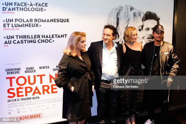 Catherine Deneuve Thierry Klifa Diane Kruger and Nekfeu at UGC Cine Cite Bercy on October 19 2017 in Paris France