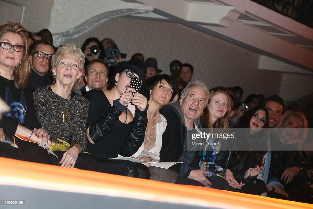 Catherine Deneuve, Tonie Marshall, Rossy de Palma, Florence Foresti, Abel Ferrara, Shanyn Leigh and Paz Vega attend the Jean-Paul Gaultier Spring/Summer 2013 Haute-Couture show as part of Paris Fashion Week at Rue Saint Martin headquarters on January 23, 2013 in Paris, France.
