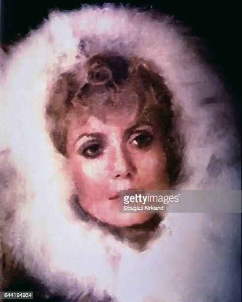Catherine Deneuve wearing a fuzzy hood in a computer altered still from Mayerling1968