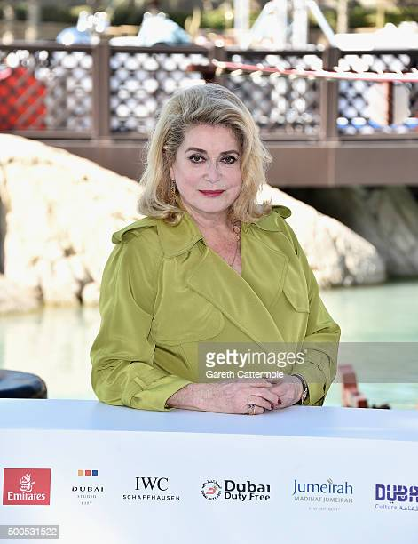 Catherine Deneuve who receives a Lifetime Achievement award attends a photocall during day one of the 12th annual Dubai International Film Festival...