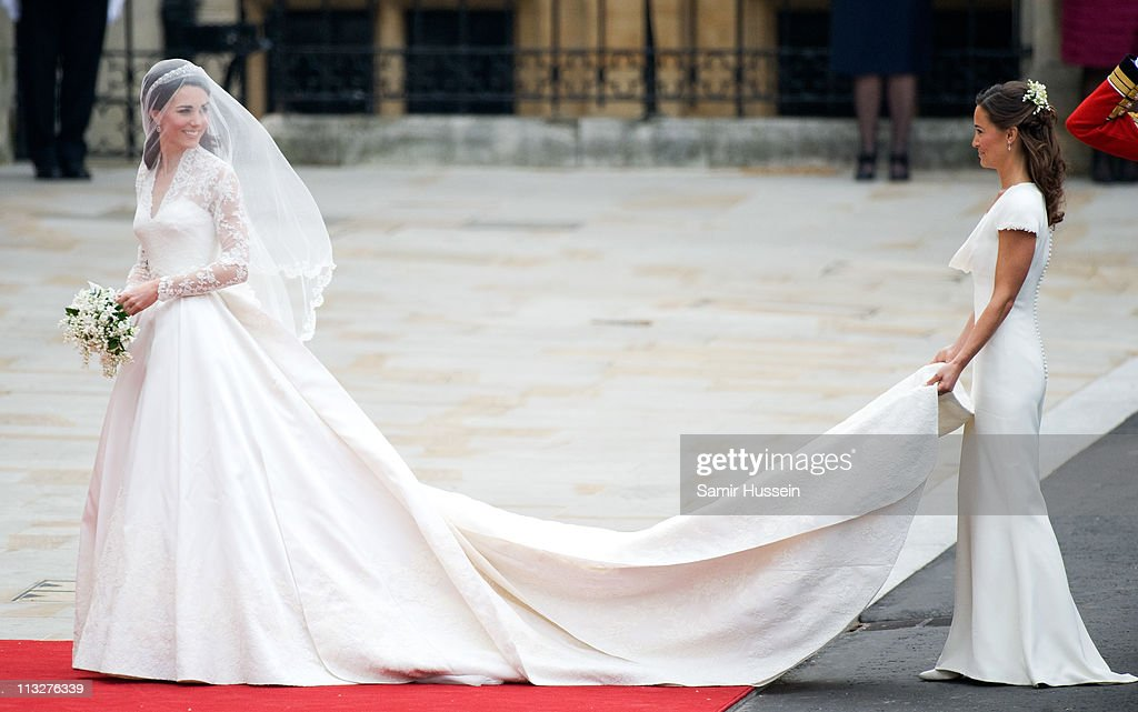 Catherine Duchess and Pippa Middleton of Cambridge arrive for the marriage of Their Royal Highnesses Prince William Duke of Cambridge and Catherine...