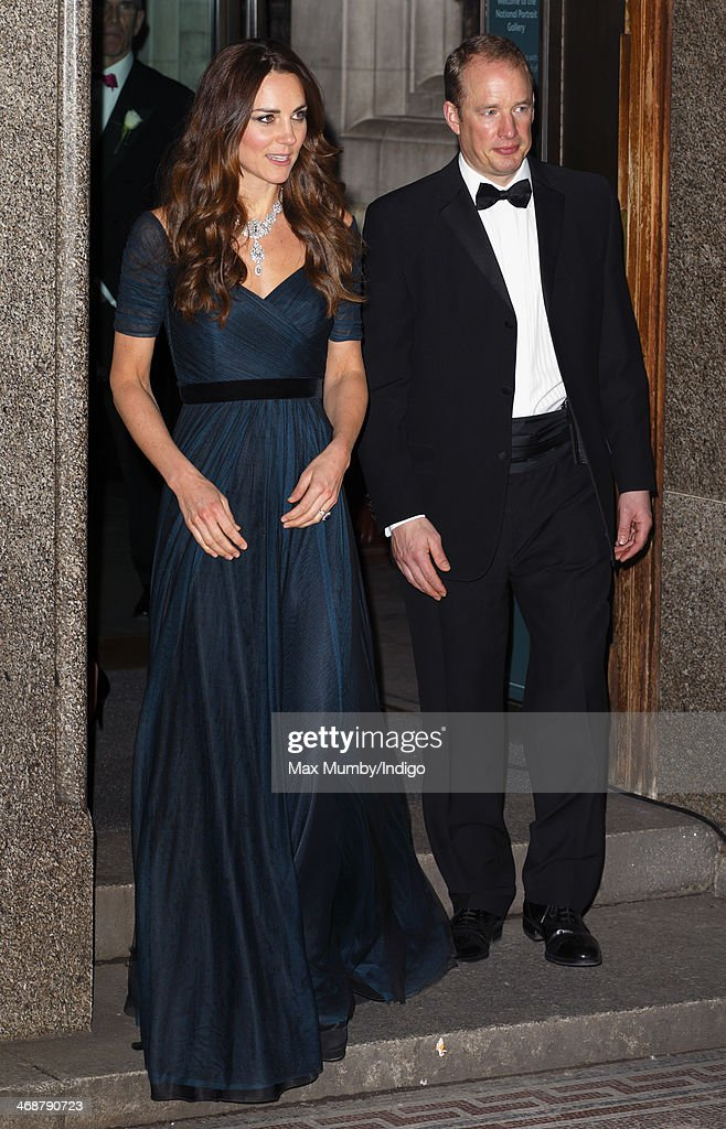 Catherine, Duchess of Cambridge, accompanied be her Police Protection Officer, leaves after attending The Portrait Gala 2014: Collecting to Inspire at the National Portrait Gallery on February 11, 2014 in London, England.