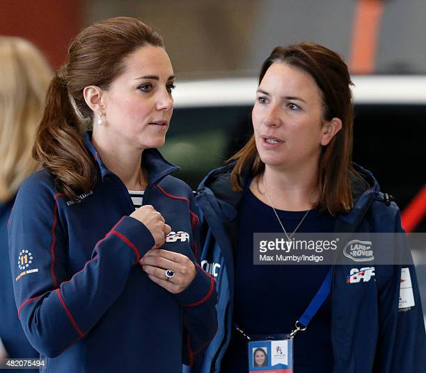 Catherine Duchess of Cambridge accompanied by her Private Secretary Rebecca Deacon visits the Ben Ainslie Racing team base as she attends the...
