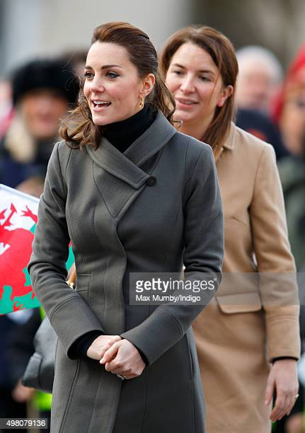 Catherine Duchess of Cambridge accompanied by her Private Secretary Rebecca Deacon undertakes a walkabout in Castle Square Caernarfon during a day of...