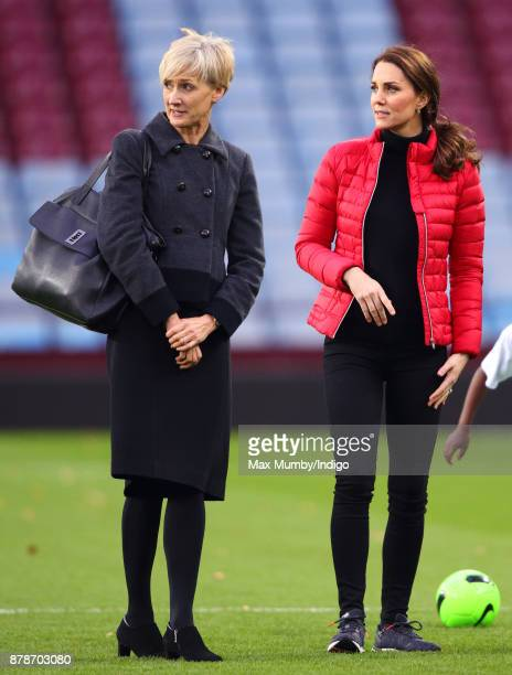 Catherine Duchess of Cambridge accompanied by her Private Secretary Catherine Quinn visits Aston Villa Football Club to see the work of the Coach...