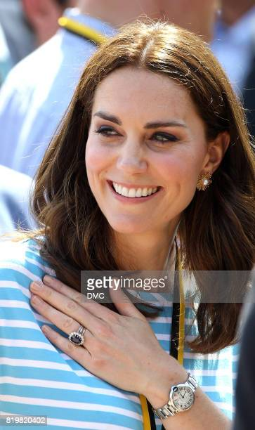 Catherine Duchess of Cambridge after participating in a rowing race between the twinned town of Cambridge and Heidelberg on day 2 of their official...