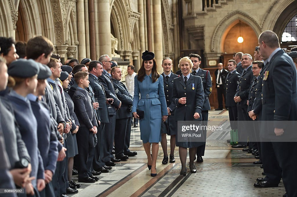 <a gi-track='captionPersonalityLinkClicked' href=/galleries/search?phrase=Catherine+-+Duchess+of+Cambridge&family=editorial&specificpeople=542588 ng-click='$event.stopPropagation()'>Catherine</a>, Duchess of Cambridge and Air Commodore Dawn McCafferty arrive to the service of the 75th Anniversary of the RAF Air Cadets at St Clement Danes Church on February 7, 2016 in London, England.