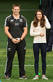 Catherine Duchess of Cambridge and All Blacks captain Richie McCaw attend a young players' Rugby tournament at Forsyth Barr Stadium on April 13 2014...