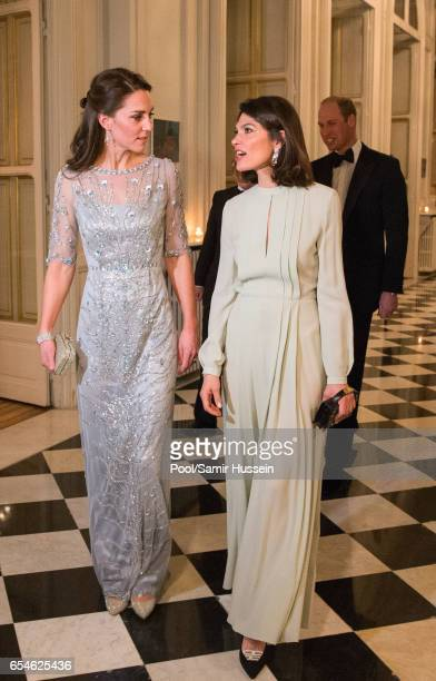 Catherine Duchess of Cambridge and Anne Llewellyn attend a dinner at the British Embassy on March 17 2017 in Paris France The Duke and Duchess are on...
