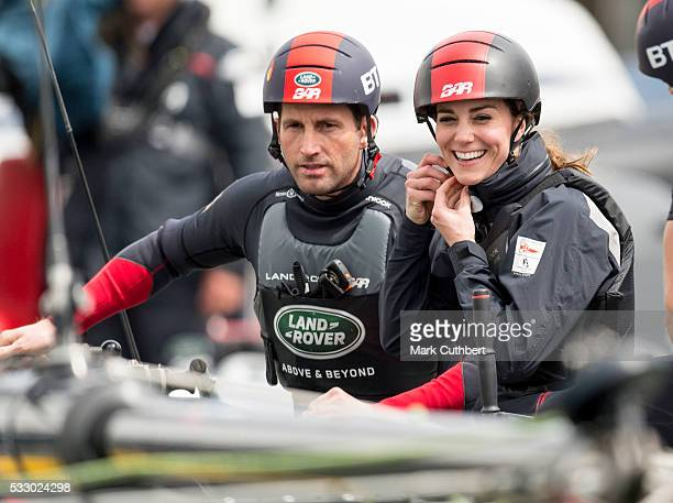 Catherine Duchess of Cambridge and Ben Ainslie join the Land Rover BAR team on board their training boat as they run a training circuit on the Solent...