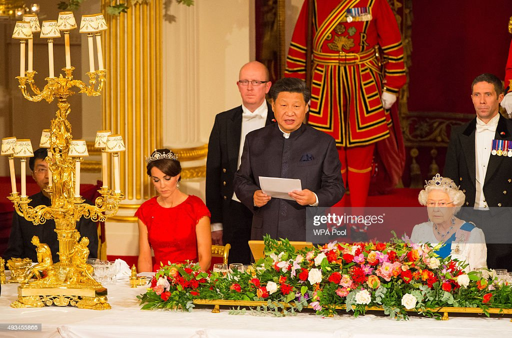 Catherine, Duchess of Cambridge and Britain's Queen Elizabeth II listen as President of China Xi Jinping speaks during a state banquet at Buckingham Palace on October 20, 2015 in London, England. The President of the People's Republic of China, Mr Xi Jinping and his wife, Madame Peng Liyuan, are paying a State Visit to the United Kingdom as guests of the Queen. They will stay at Buckingham Palace and undertake engagements in London and Manchester. The last state visit paid by a Chinese President to the UK was Hu Jintao in 2005.