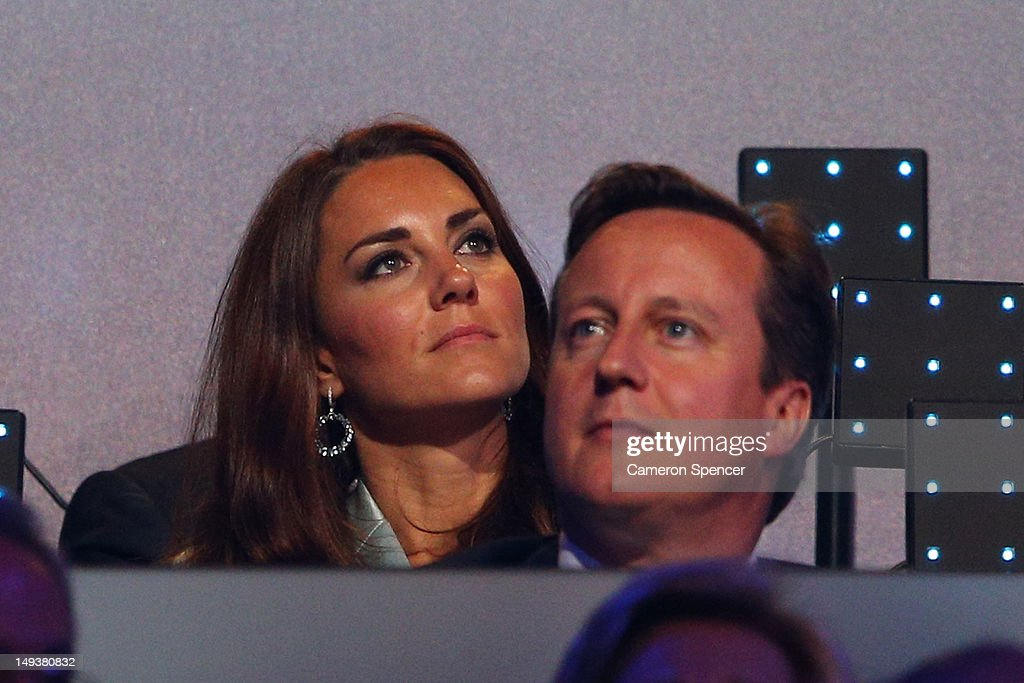 <a gi-track='captionPersonalityLinkClicked' href=/galleries/search?phrase=Catherine+-+Duchess+of+Cambridge&family=editorial&specificpeople=542588 ng-click='$event.stopPropagation()'>Catherine</a>, Duchess of Cambridge, and British Prime Minister <a gi-track='captionPersonalityLinkClicked' href=/galleries/search?phrase=David+Cameron+-+Politician&family=editorial&specificpeople=227076 ng-click='$event.stopPropagation()'>David Cameron</a> look on during the Opening Ceremony of the London 2012 Olympic Games at the Olympic Stadium on July 27, 2012 in London, England.
