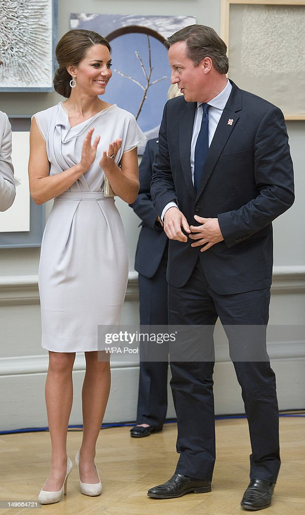 Catherine, Duchess of Cambridge and British Prime Minister <a gi-track='captionPersonalityLinkClicked' href=/galleries/search?phrase=David+Cameron+-+Politician&family=editorial&specificpeople=227076 ng-click='$event.stopPropagation()'>David Cameron</a> attends the UK's Creative Industries Reception at the Royal Academy of Arts on July 30, 2012 in London, England.