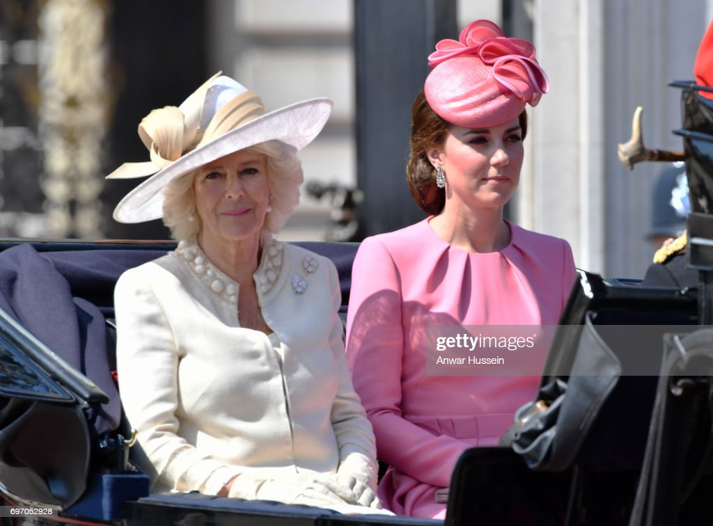 Catherine, Duchess of Cambridge and Camilla, Duchess of Cornwall leave Buckingham Palace in an open carriage to attend the annual Trooping the Colour ceremony on June 17, 2017 in London, England.