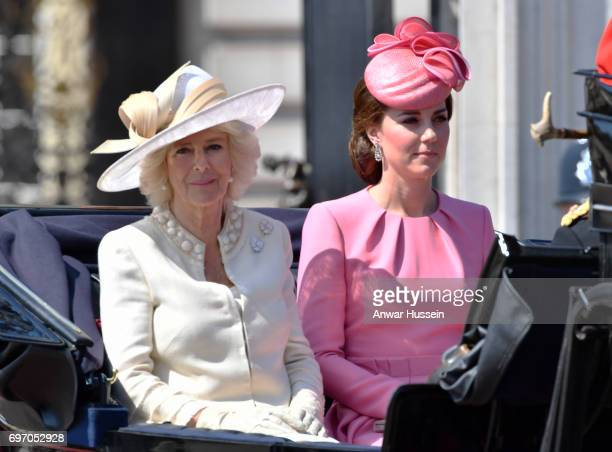Catherine Duchess of Cambridge and Camilla Duchess of Cornwall leave Buckingham Palace in an open carriage to attend the annual Trooping the Colour...