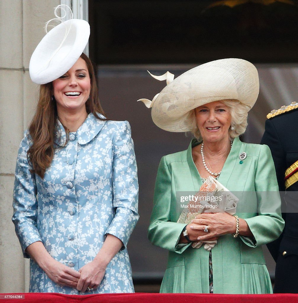 Catherine, Duchess of Cambridge and Camilla, Duchess of Cornwall stand on the balcony of Buckingham Palace during Trooping the Colour on June 13, 2015 in London, England. The ceremony is Queen Elizabeth II's annual birthday parade and dates back to the time of Charles II in the 17th Century, when the Colours of a regiment were used as a rallying point in battle.