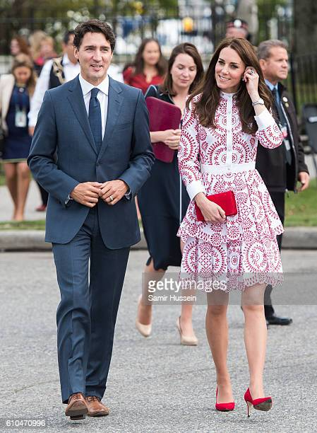 Catherine Duchess of Cambridge and Canadian Prime Minister Justin Trudeau visit the Canadian Coast Guard and Vancouver First Responders event at...