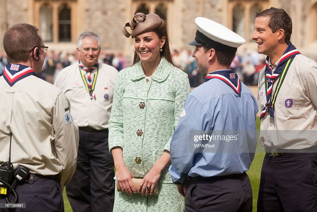 <a gi-track='captionPersonalityLinkClicked' href=/galleries/search?phrase=Catherine+-+Duchess+of+Cambridge&family=editorial&specificpeople=542588 ng-click='$event.stopPropagation()'>Catherine</a>, Duchess of Cambridge and Chief Scout <a gi-track='captionPersonalityLinkClicked' href=/galleries/search?phrase=Bear+Grylls&family=editorial&specificpeople=3061585 ng-click='$event.stopPropagation()'>Bear Grylls</a> (R) talk with scouts as she attends the National Review of Queen's Scouts at Windsor Castle on April 21, 2013.