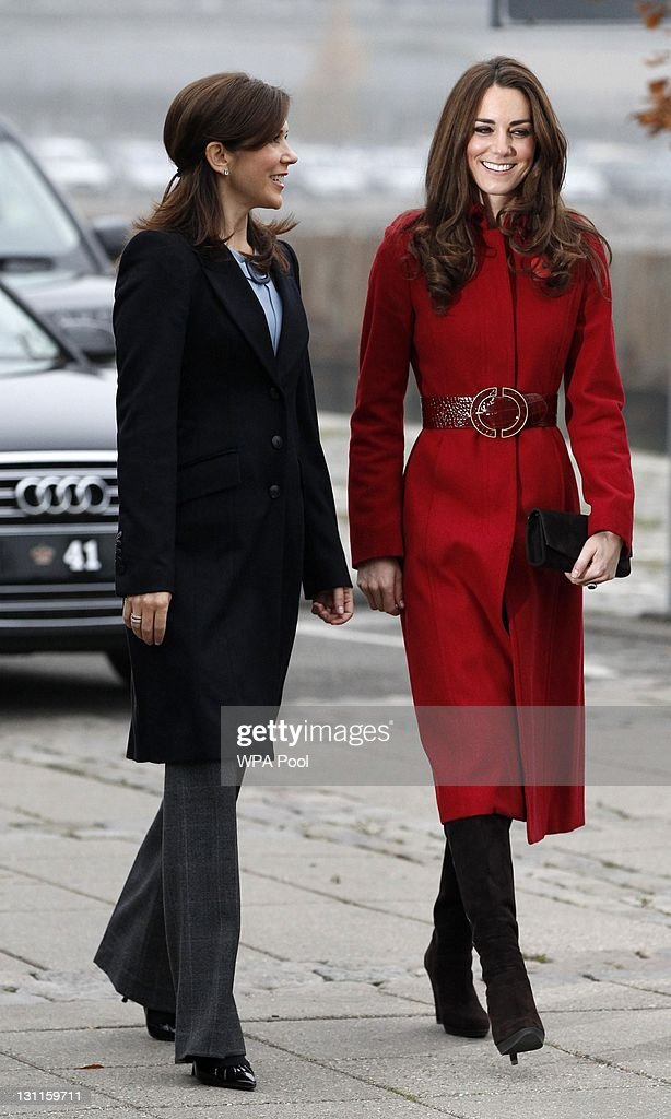 Catherine, Duchess of Cambridge (R) and <a gi-track='captionPersonalityLinkClicked' href=/galleries/search?phrase=Crown+Princess+Mary+of+Denmark&family=editorial&specificpeople=158374 ng-click='$event.stopPropagation()'>Crown Princess Mary of Denmark</a> arrive for a visit to the UNICEF Emergency Supply Centre on November 2, 2011 in Copenhagen, Denmark. Catherine, Duchess of Cambridge and Prince William, Duke of Cambridge visited the centre to view efforts to distribute emergency food and medical supplies to eastern Africa where severe food shortages are affecting more than 13 million people.