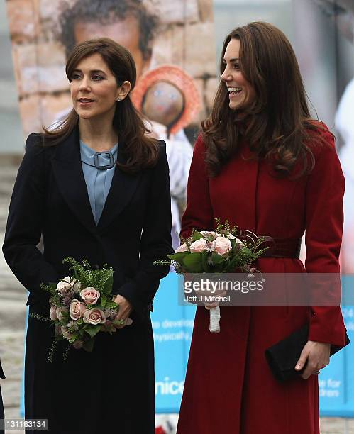 Catherine Duchess of Cambridge and Crown Princess Mary of Denmark visit the UNICEF Global Supply Centre on November 2 2011 in Copenhagen Denmark The...