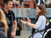 Catherine Duchess of Cambridge and Dean Barker of Team New Zealand prepare to head out to the Waitemata Harbour onboard a Team New Zealand yacht at...