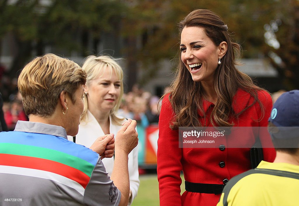 Catherine, Duchess of Cambridge and Debbie Hockley, ICC Hall of Fame react following a game of cricket during the countdown to the 2015 ICC Cricket World Cup at Latimer Square on April 14, 2014 in Christchurch, New Zealand. The Royal couple are currently in New Zealand and touring the country until Wednesday, when they then head to Australia.