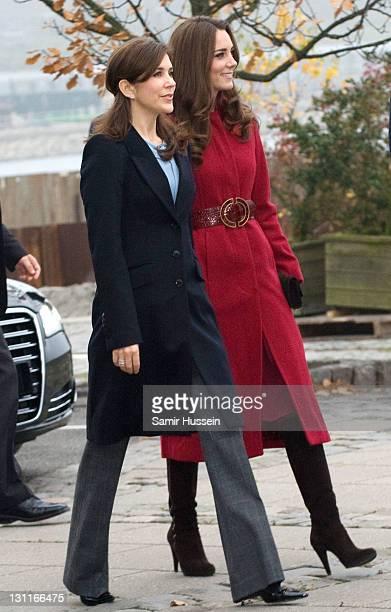 Catherine Duchess of Cambridge and Mary Crown Princess of Denmark visit the UNICEF Centre on November 2 2011 in Copenhagen Denmark