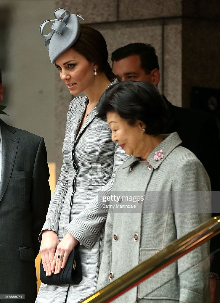 Catherine, Duchess of Cambridge and Mary Tan are seen attending the Singapore State Visit to the UK at the Royal Garden Hotel on October 21, 2014 in London, England.