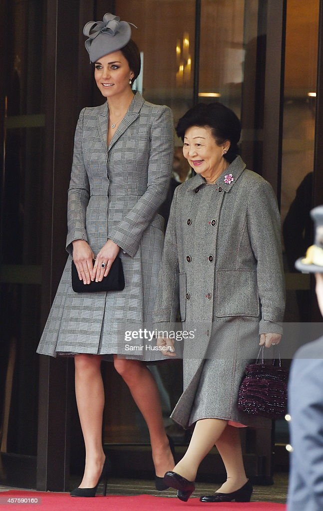 Catherine, Duchess of Cambridge and Mary Tan leave the Royal Garden Hotel during a Singapore State Visit to the UK on October 21, 2014 in London, England.