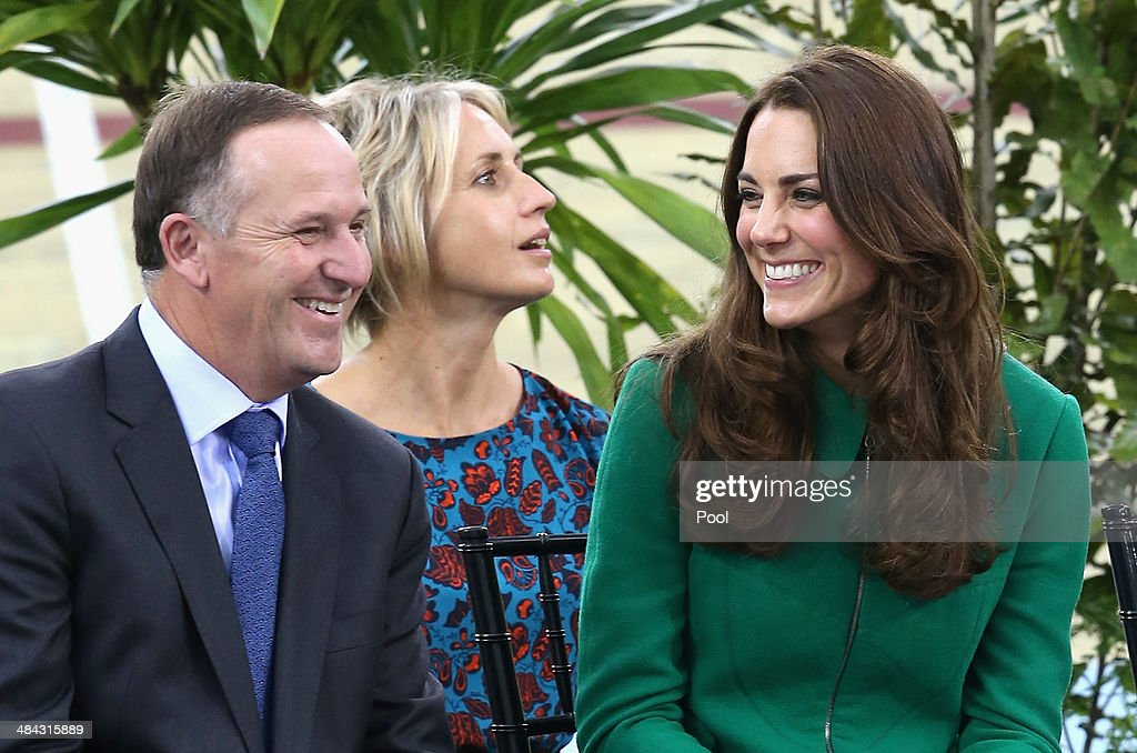 Catherine, Duchess of Cambridge and Prime Minister of New Zealand John Key as they visit the Avanti Drome on April 12, 2014 in Hamilton, New Zealand. The Duke and Duchess of Cambridge are on a three-week tour of Australia and New Zealand, the first official trip overseas with their son, Prince George of Cambridge.