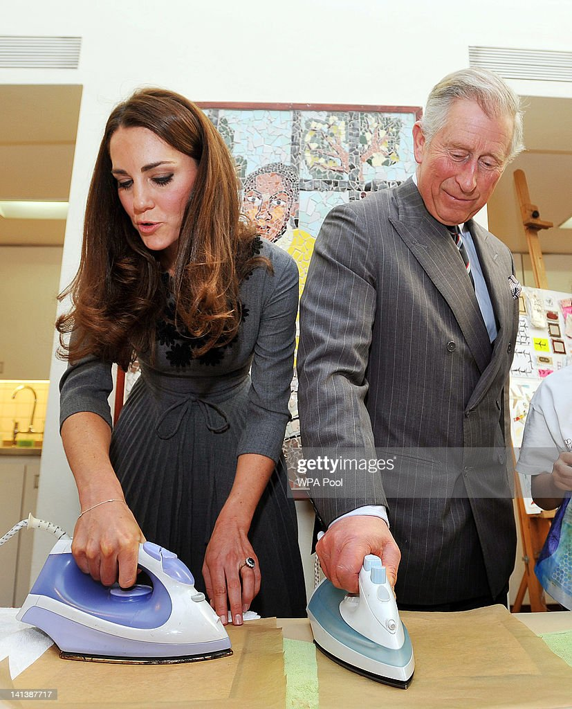 <a gi-track='captionPersonalityLinkClicked' href=/galleries/search?phrase=Catherine+-+Duchess+of+Cambridge&family=editorial&specificpeople=542588 ng-click='$event.stopPropagation()'>Catherine</a>, Duchess of Cambridge and <a gi-track='captionPersonalityLinkClicked' href=/galleries/search?phrase=Prince+Charles&family=editorial&specificpeople=160180 ng-click='$event.stopPropagation()'>Prince Charles</a>, Prince of Wales iron artwork produced on silk during a visit to the Dulwich Picture Gallery on March 15, 2012 in Dulwich, south London, Englad. The Duchess of Cambridge joined her parents-in-law <a gi-track='captionPersonalityLinkClicked' href=/galleries/search?phrase=Prince+Charles&family=editorial&specificpeople=160180 ng-click='$event.stopPropagation()'>Prince Charles</a>, Prince of Wales and Camilla, Duchess of Cornwall on a royal visit to the gallery to celebrate their shared love of the arts and see work done by the Prince's Foundation for Children and the Arts.