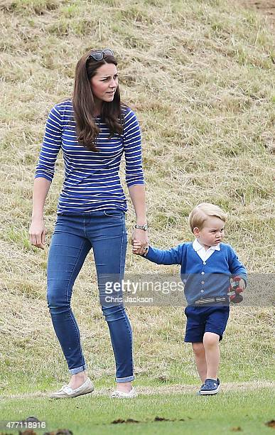 Catherine Duchess of Cambridge and Prince George attend the Gigaset Charity Polo Match with Prince George of Cambridge at Beaufort Polo Club on June...