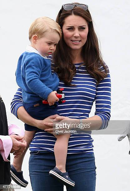 Catherine Duchess of Cambridge and Prince George attend the Gigaset Charity Polo Match at Beaufort Polo Club on June 14 2015 in Tetbury England