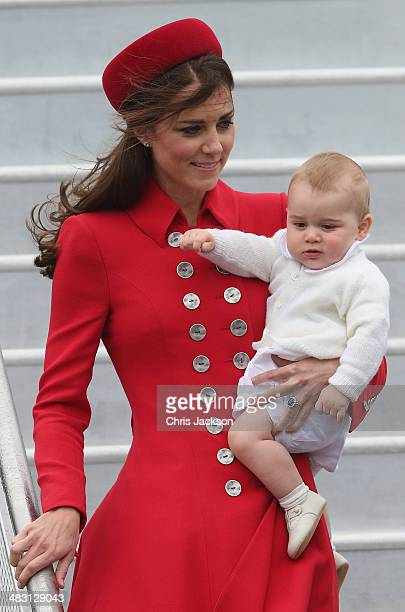 Catherine Duchess of Cambridge and Prince George of Cambridge arrive at Wellington Military Terminal on an RNZAF 757 from Sydney on April 7 2014 in...