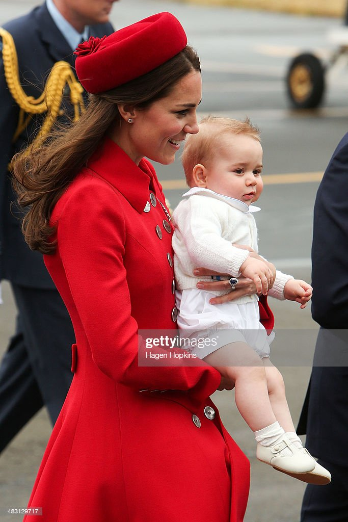 <a gi-track='captionPersonalityLinkClicked' href=/galleries/search?phrase=Catherine+-+Duchess+of+Cambridge&family=editorial&specificpeople=542588 ng-click='$event.stopPropagation()'>Catherine</a>, Duchess of Cambridge and <a gi-track='captionPersonalityLinkClicked' href=/galleries/search?phrase=Prince+George+of+Cambridge&family=editorial&specificpeople=11176510 ng-click='$event.stopPropagation()'>Prince George of Cambridge</a> arrive at Wellington Airport on April 7, 2014 in Wellington, New Zealand. The Duke and Duchess of Cambridge are on a three-week tour of Australia and New Zealand, the first official trip overseas with their son, <a gi-track='captionPersonalityLinkClicked' href=/galleries/search?phrase=Prince+George+of+Cambridge&family=editorial&specificpeople=11176510 ng-click='$event.stopPropagation()'>Prince George of Cambridge</a>.
