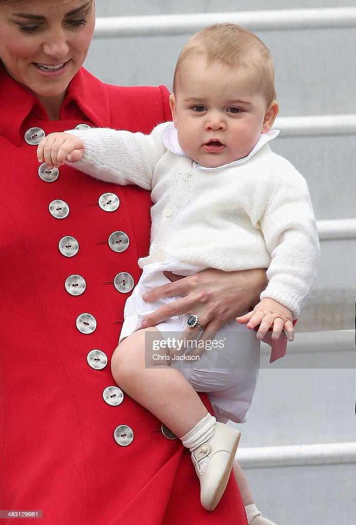<a gi-track='captionPersonalityLinkClicked' href=/galleries/search?phrase=Catherine+-+Duchess+of+Cambridge&family=editorial&specificpeople=542588 ng-click='$event.stopPropagation()'>Catherine</a>, Duchess of Cambridge and <a gi-track='captionPersonalityLinkClicked' href=/galleries/search?phrase=Prince+George+of+Cambridge&family=editorial&specificpeople=11176510 ng-click='$event.stopPropagation()'>Prince George of Cambridge</a> arrive at Wellington Military Terminal on an RNZAF 757 from Sydney on April 7, 2014 in Wellington, New Zealand. The Royal Family have arrived in New Zealand for the first day of a Royal Tour to New Zealand and Australia. Over a period of three weeks the Royal trio will visit 12 Cities in New Zealand and Australia taking part in activities as wide ranging as a yacht race in Auckland Harbour, paying their respects to victims of the 2011 earthquake in Christchurch and visiting Ayres Rock in Australia.